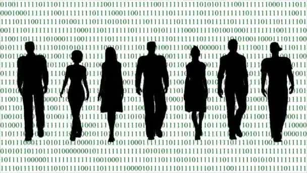 Business-Team auf dem Hintergrund des Binärcodes