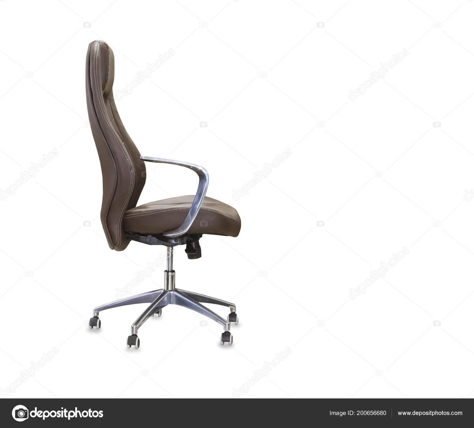 Poltrona Ufficio Pelle Marrone.Vista Profilo Sedia Ufficio Pelle Marrone Isolato Foto Stock
