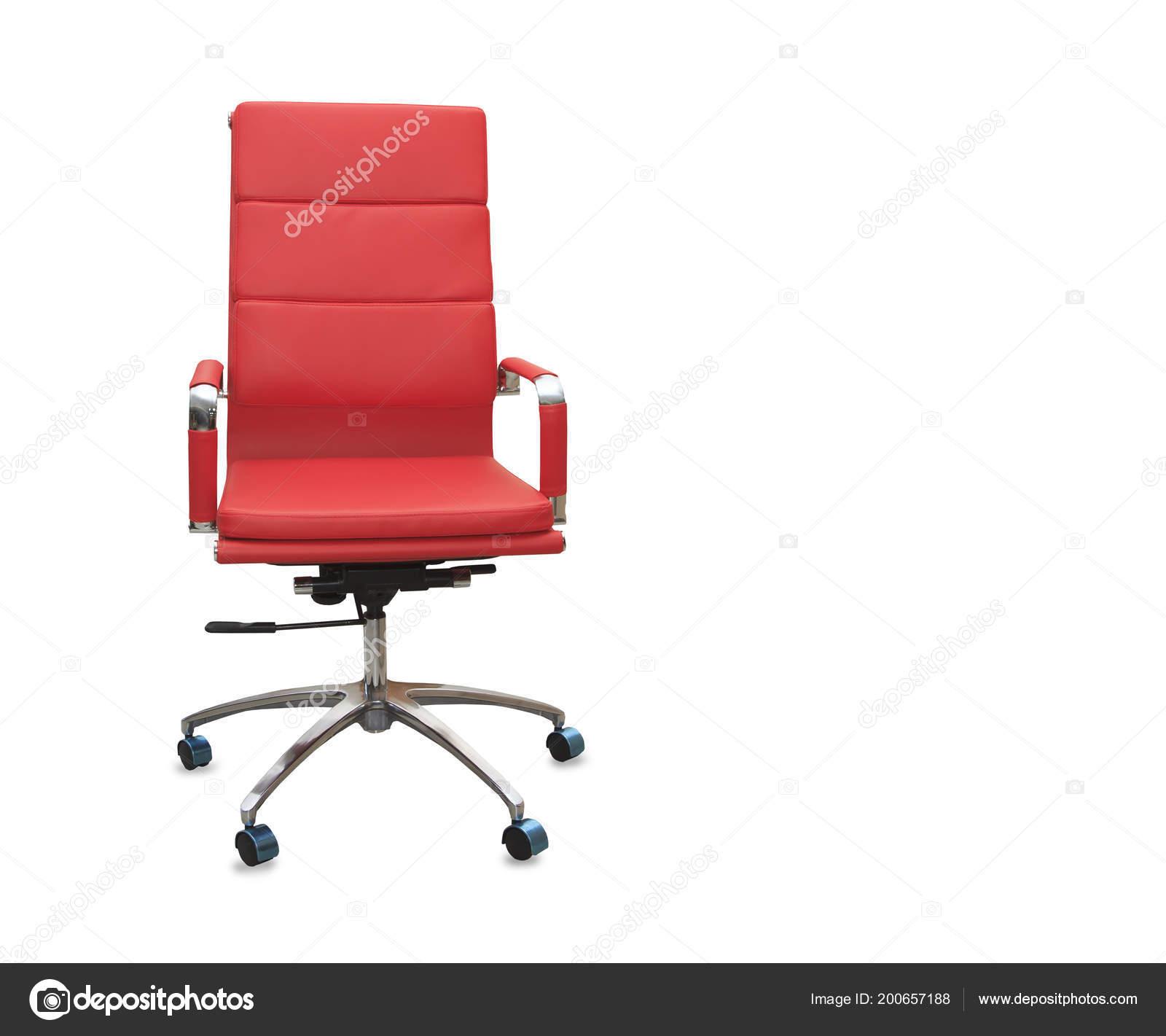 Chaise Bureau Moderne Cuir Rouge Isole Images De Stock Libres Droits
