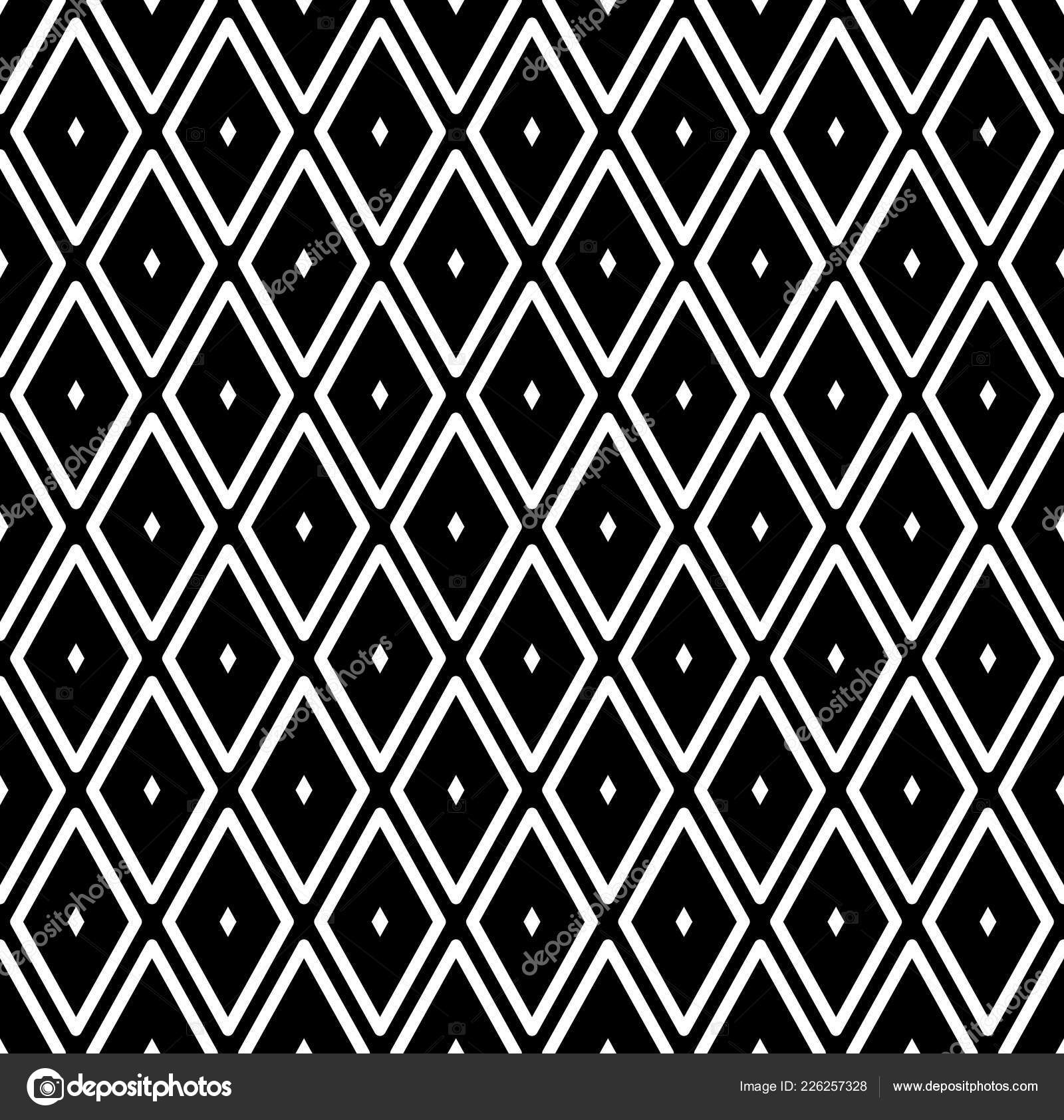 Seamless Diamonds Pattern White Geometric Texture Black Background Vector Art Stock Vector C Troyka 226257328