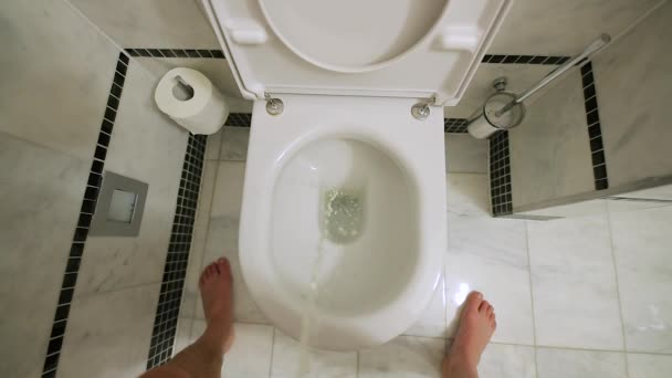Flushing a toilet after pissing, slow motion from 120 fps footage