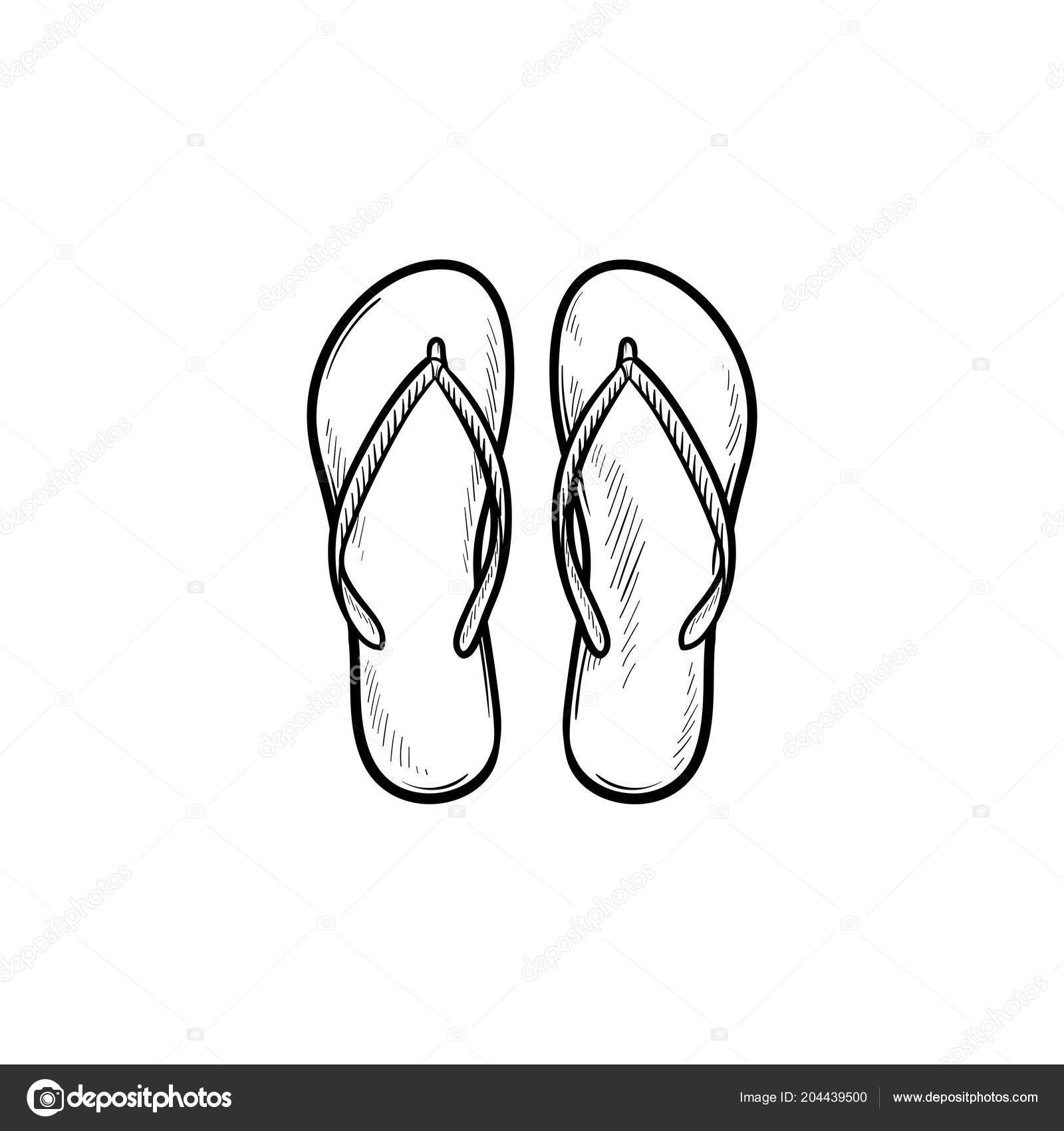 7e6e3098e Pair of flip flop slippers hand drawn outline doodle icon. Summer vacation