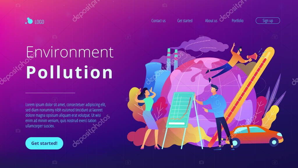 Environment pollution landing page.