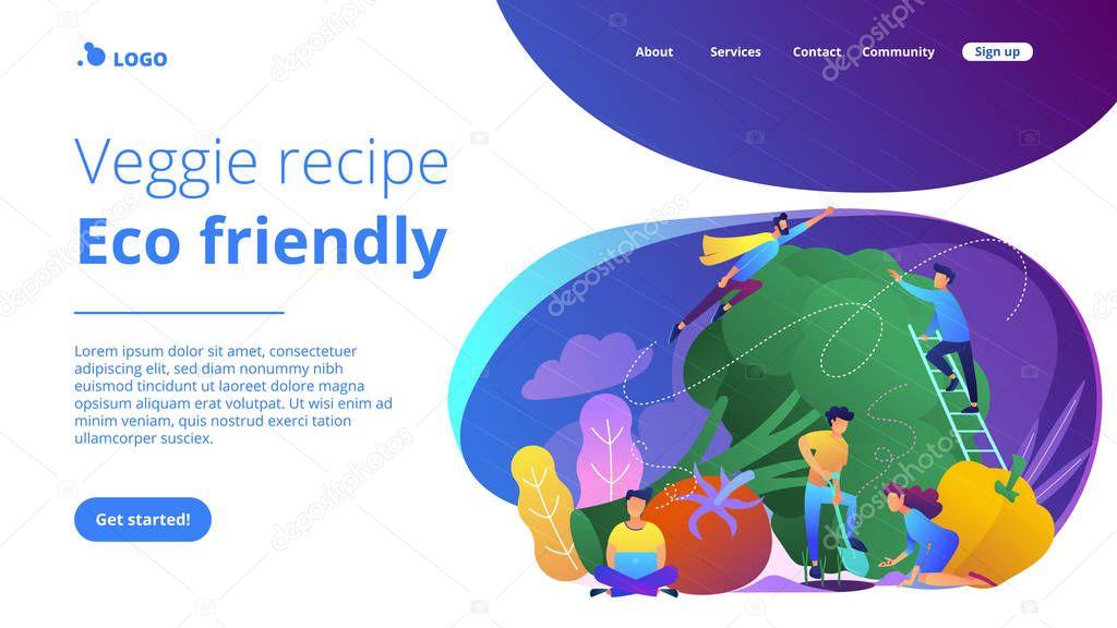 Veggie recipe, eco friendly landing page.