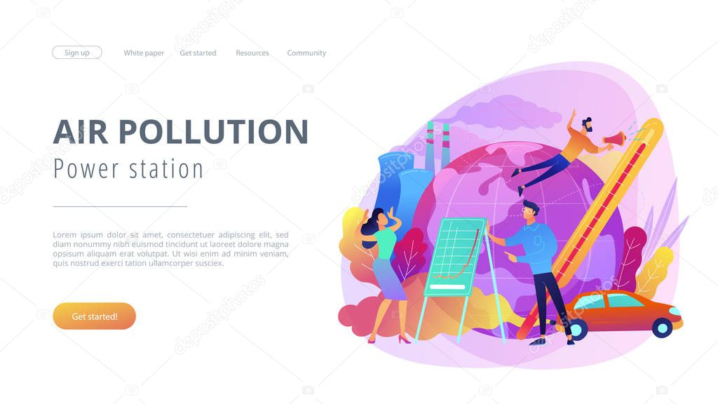 Power station and air pollution landing page.