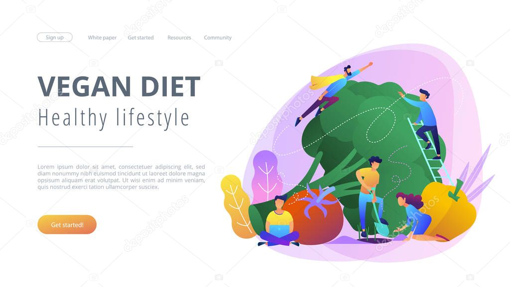 Vegan diet and healthy lifestyle landing page.
