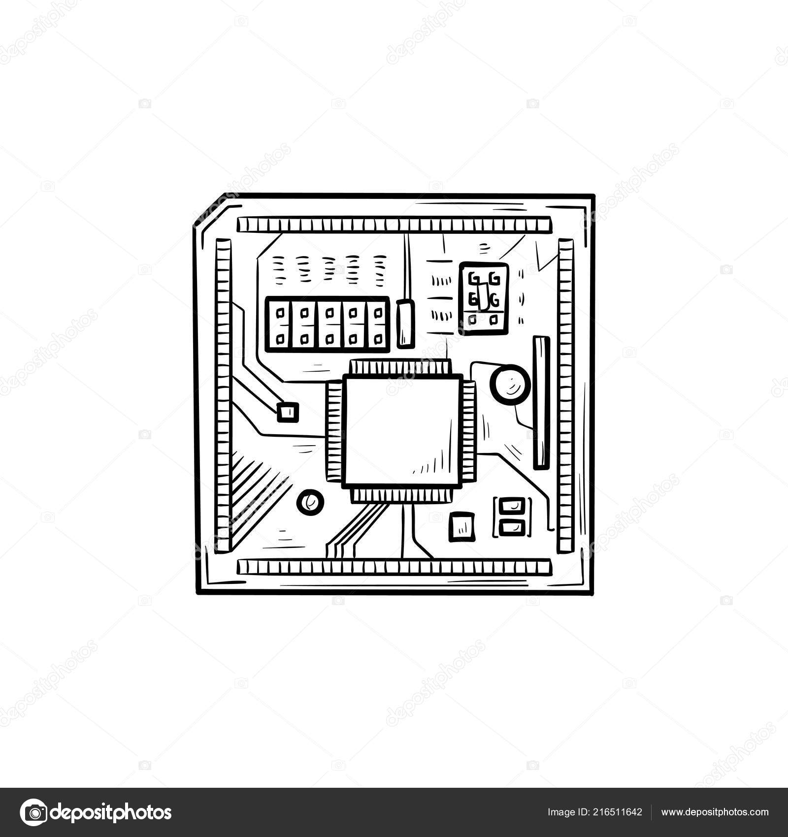 Super Circuit Board Hand Drawn Outline Doodle Icon Stock Vector Wiring 101 Akebretraxxcnl