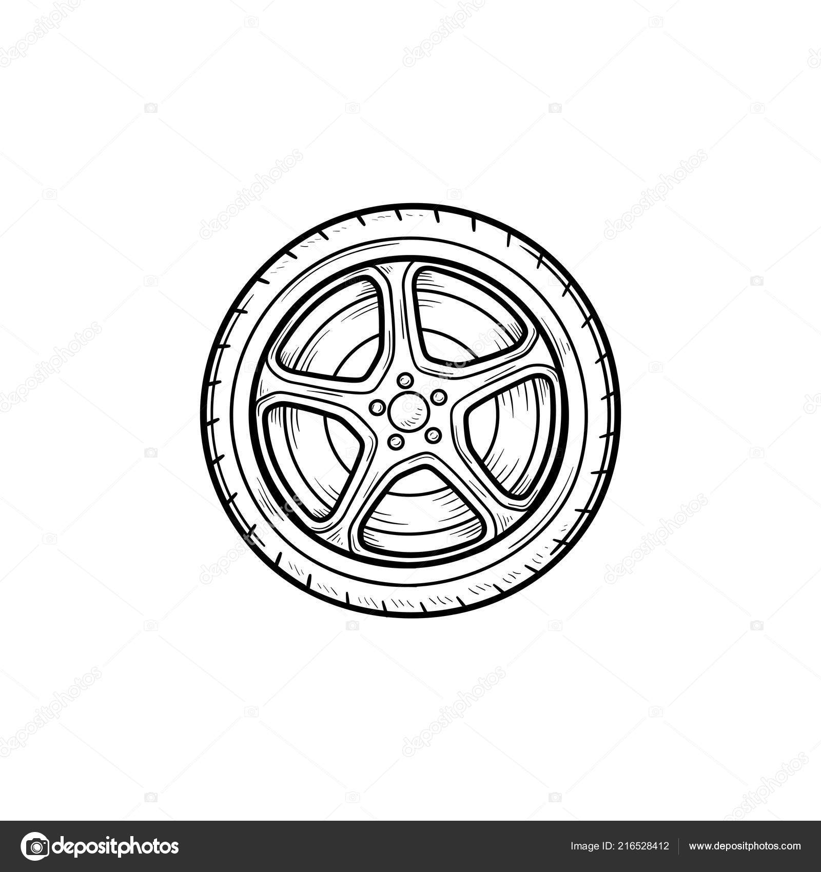 Car Wheels Drawing Car Wheel Hand Drawn Outline Doodle Icon Stock Vector C Rastudio 216528412