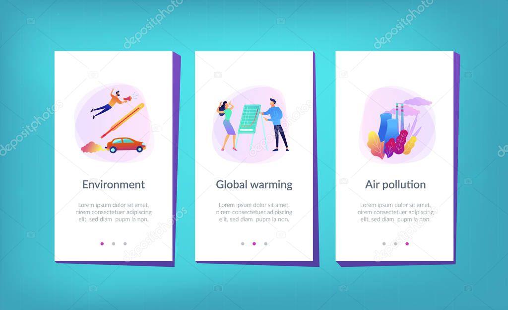 Global warming app interface template.