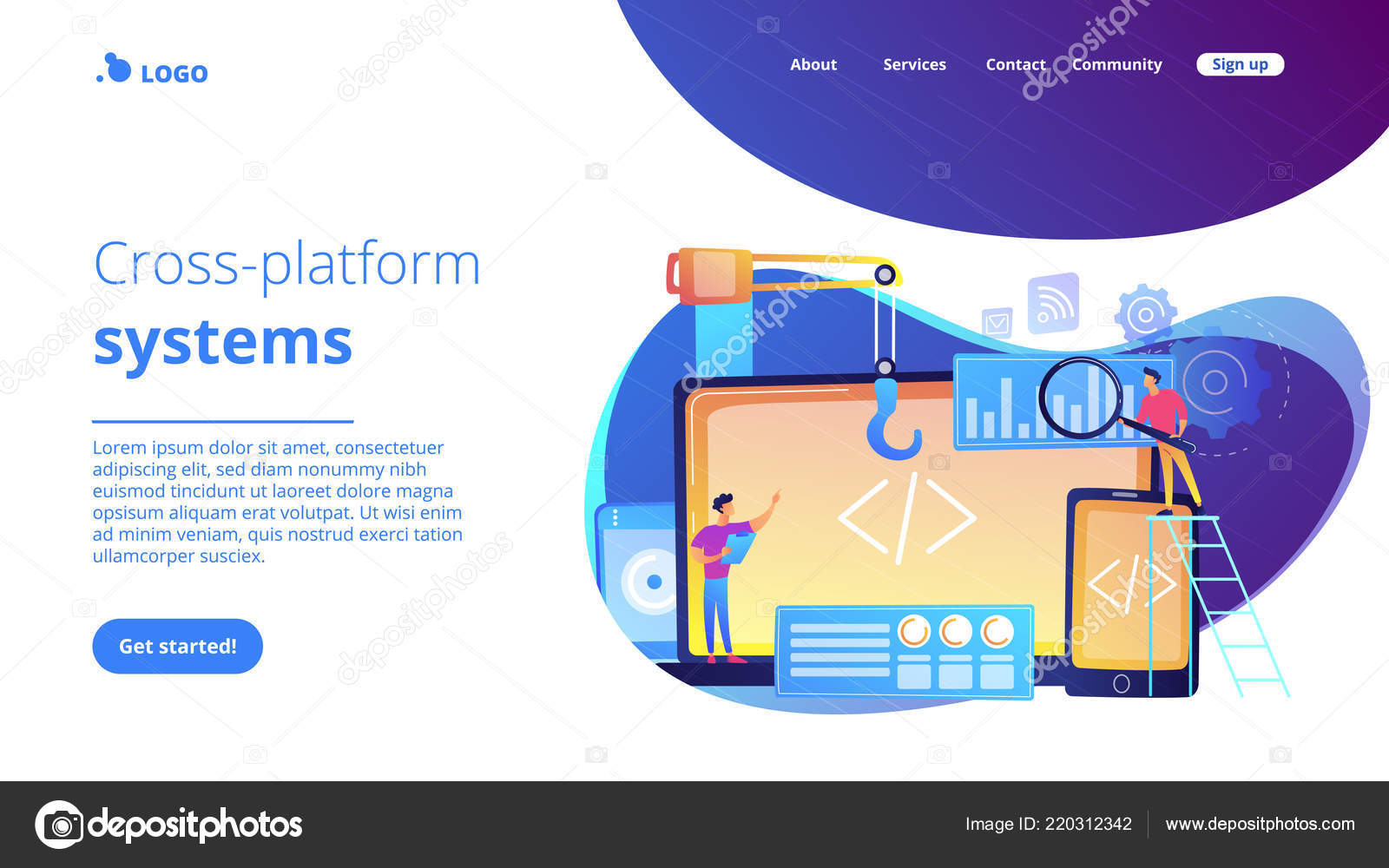 Cross-platform development concept landing page  — Stock Vector