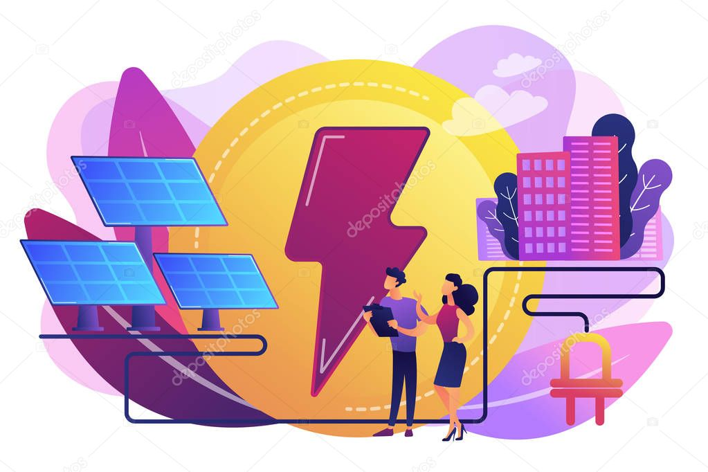 Solar energy concept vector illustration.
