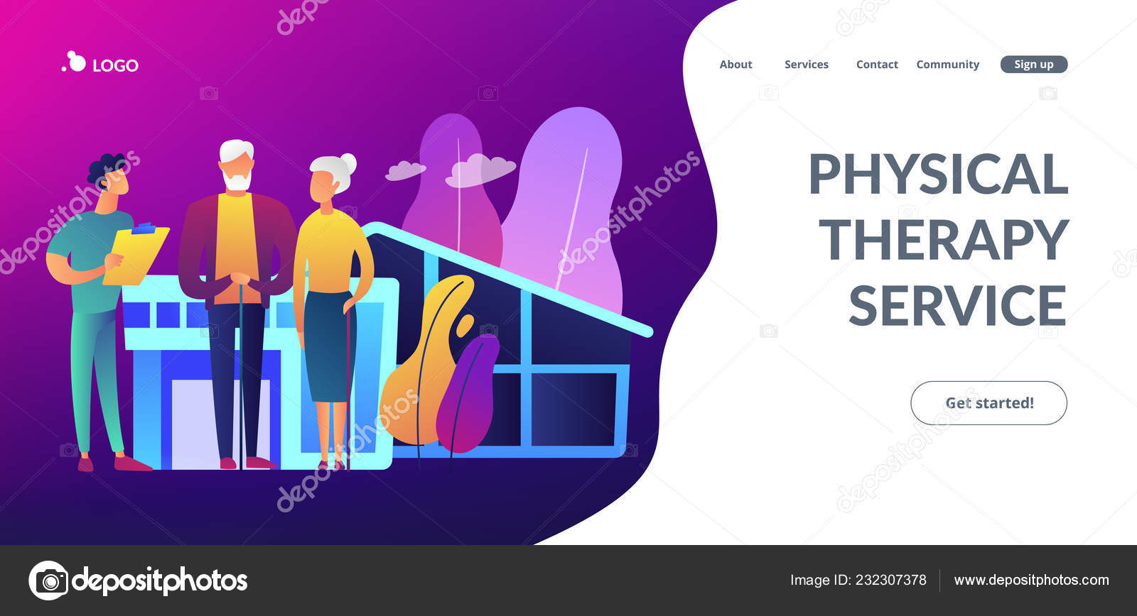 Nursing Home Concept Landing Page Stock Vector Rastudio