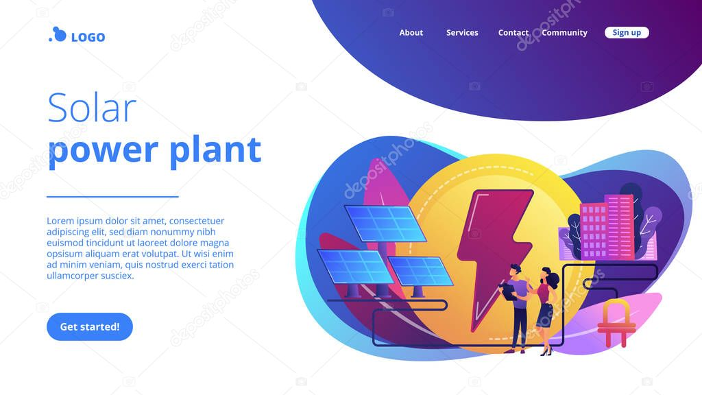 Solar energy concept landing page.