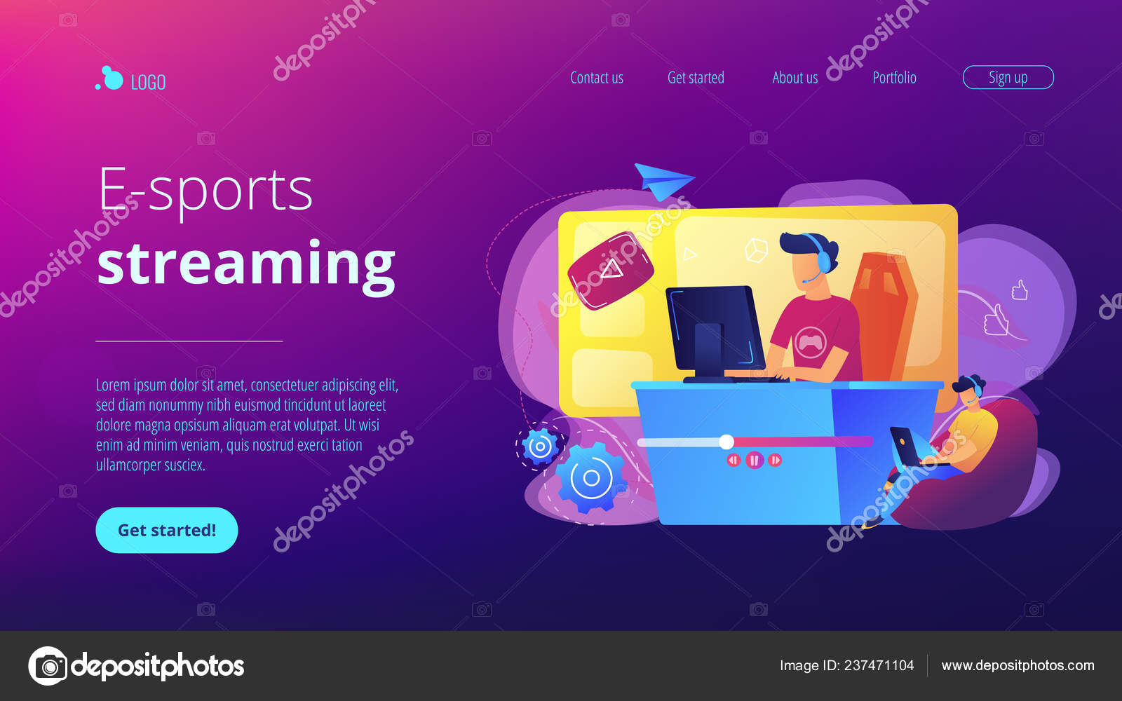 E-sport game streaming concept landing page  — Stock Vector