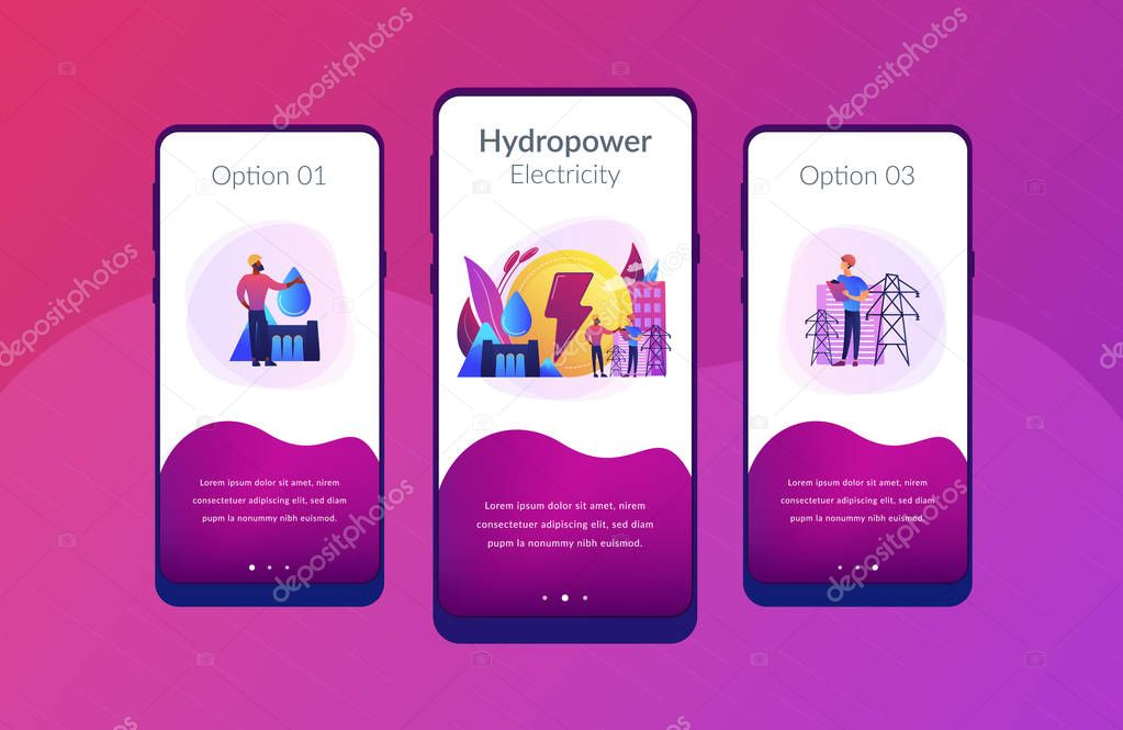 Hydropower app interface template.