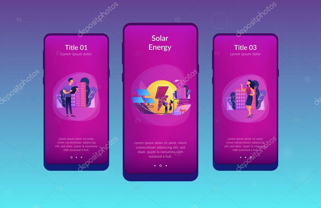 Solar energy app interface template.
