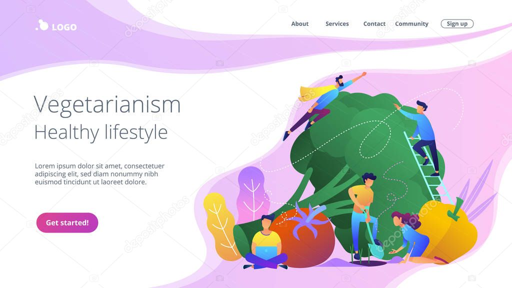 Vegetarianism and healthy lifestyle landing page.