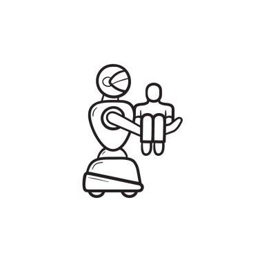 Medical robot carrying patient hand drawn outline doodle icon.