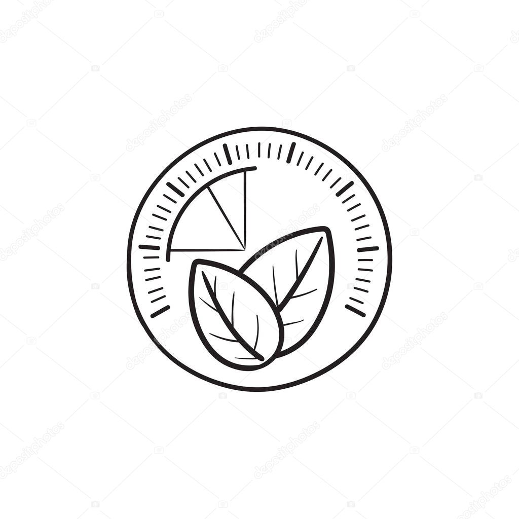 Speedometer with leaf hand drawn outline doodle icon.