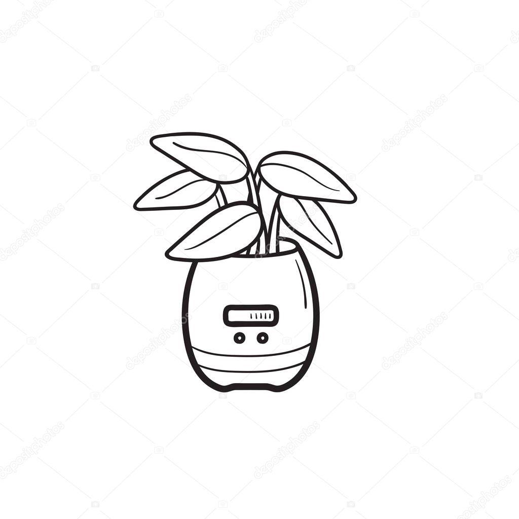 Smart plant pot hand drawn outline doodle icon.