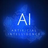 Koncept umělé inteligence technologie blockchainu.