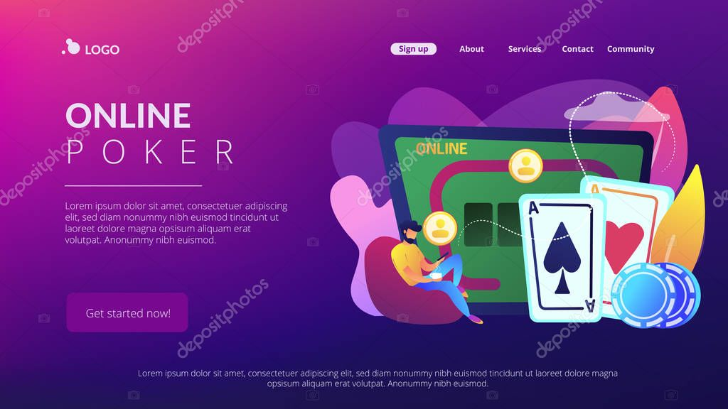 Businessman With Smartphone Playing Poker Online And Casino Table With Cards And Chips Online Poker Internet Gambling Online Casino Rooms Concept Website Vibrant Violet Landing Web Page Template Premium Vector In