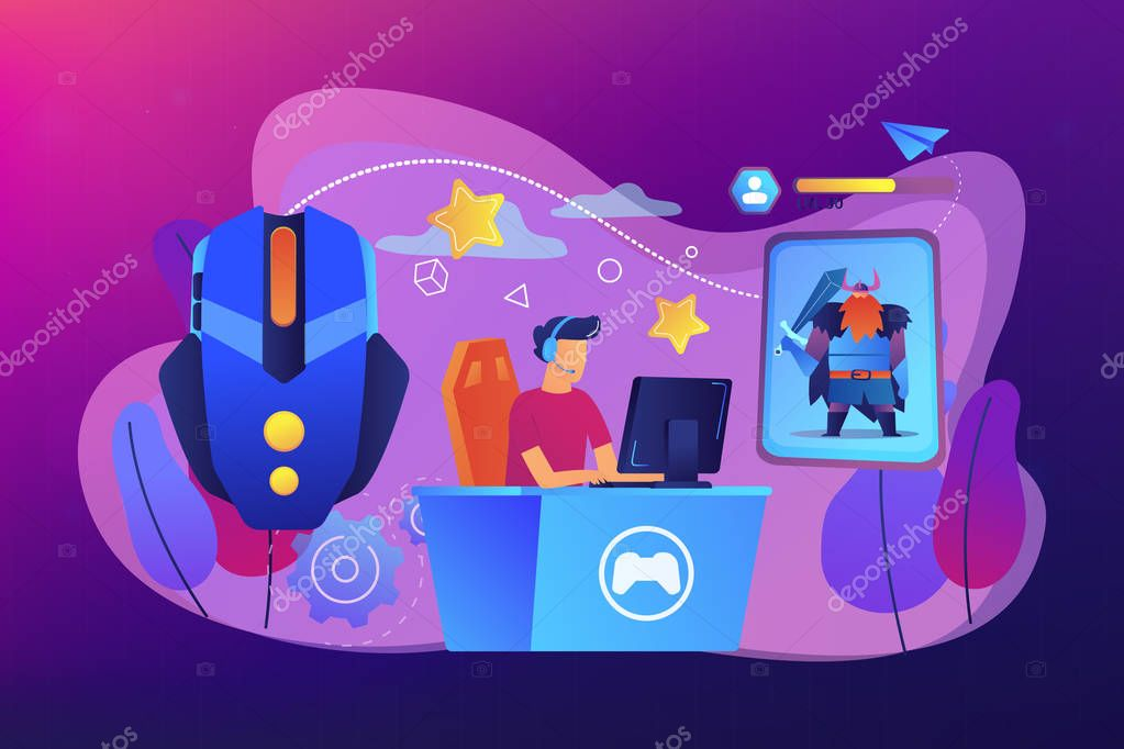 Gamer plays role-playing game online and hero avatar in fantasy world. MMORPG, massive multiplayer game, role-playing online games concept. Bright vibrant violet vector isolated illustration stock vector