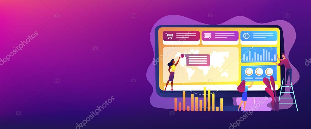 Tiny Business People Build Dashboard And Analyze Statistics Dashboard Service Online Reporting Mechanism Key Performance Indicators Concept Header Or Footer Banner Template With Copy Space Premium Vector In Adobe Illustrator Ai