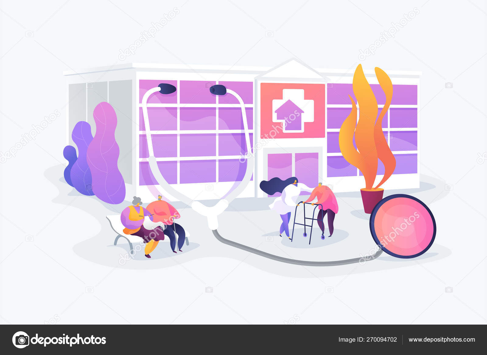 Nursing Home Concept Vector Illustration Stock Vector