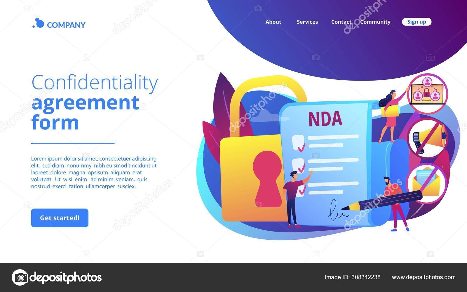 Nondisclosure Agreement Concept Landing Page Stock Vector