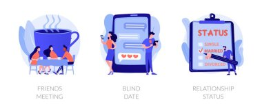 Friendship and communication, flirt and partner search, romantic bonding icons set. Friends meeting, blind date, relationship status metaphors. Vector isolated concept metaphor illustrations icon