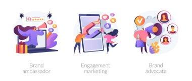 Internet marketing abstract concept vector illustration set. Brand advocate and ambassador, engagement marketing, brand representative, trademark, smm marketing strategy, awareness abstract metaphor. icon