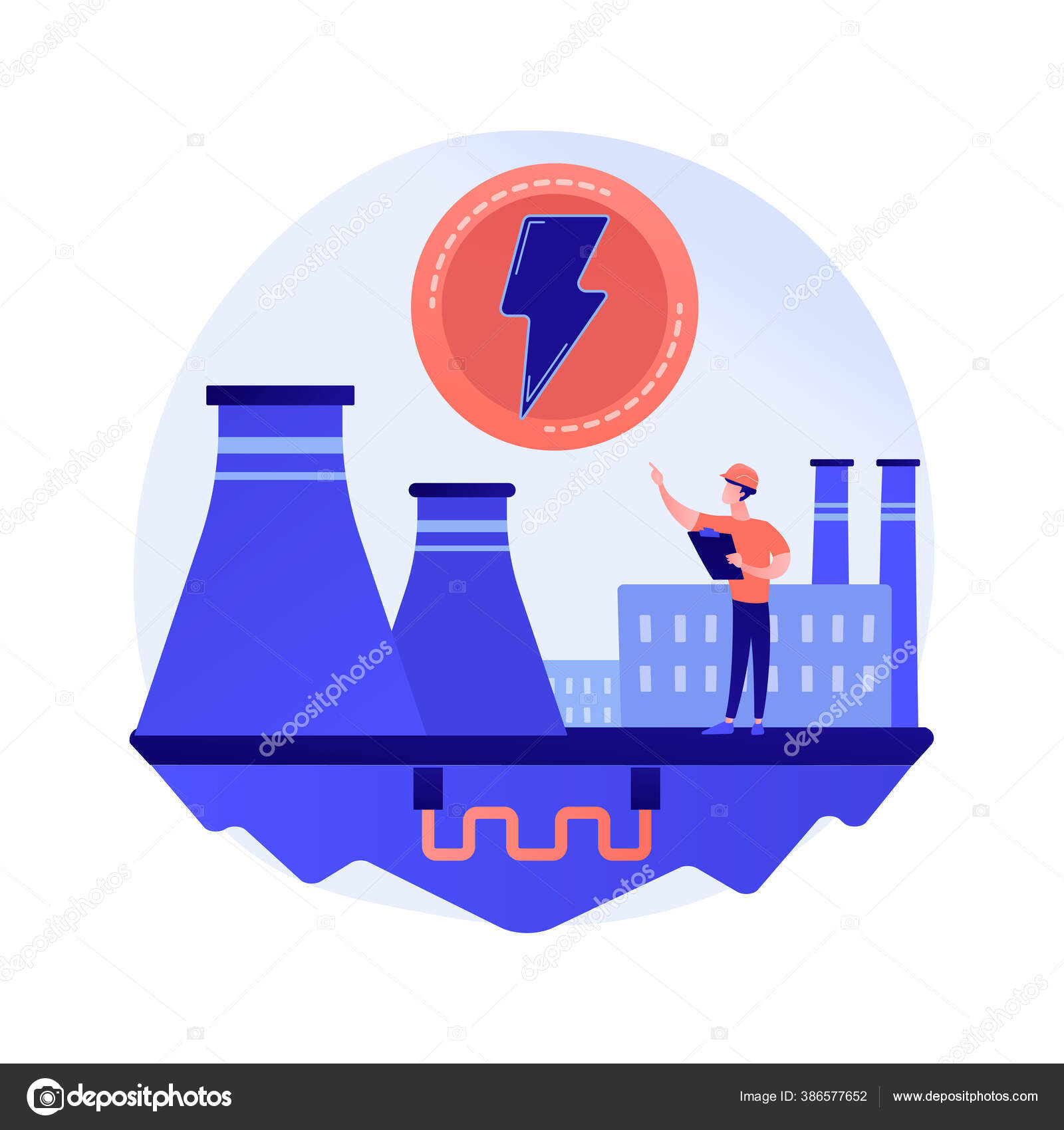 Power Plant Electric Industry Energy Production Electricity Generation Fabric Power Stock Vector C Visualgeneration 386577652