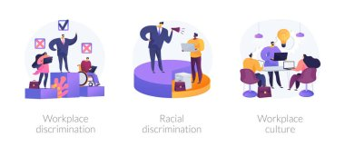 Workplace culture abstract concept vector illustration set. Workplace and racial discrimination, equal employment opportunity, shared values, sexual harassment, prejudice and bias abstract metaphor. icon