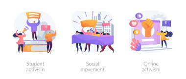 Political and social change abstract concept vector illustration set. Student and online activism, social movement, big crowd, mass protest, group action, digital communication abstract metaphor. icon