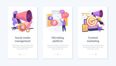 SMM business, internet blogging network, advertising strategy icons set. Social media management, microblog platform, content marketing metaphors. Mobile app UI interface wireframe template. icon