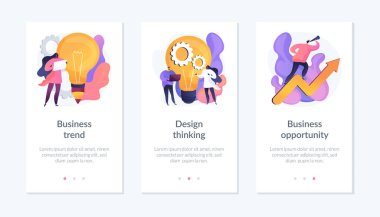 Professional marketing research, team collaboration, solutions search icons set. Business trend, design thinking, business opportunity metaphors. Mobile app UI interface wireframe template. icon