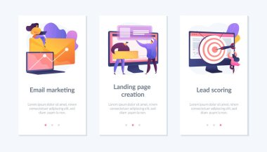Web design and targeted advertisement flat icons set. Newsletter digital promotion. Email marketing, landing page creation, lead scoring metaphors. Mobile app UI interface wireframe template. icon