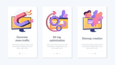 Website promotion services icons set. Search engine optimization business. Generate more traffic, alt tag optimization, sitemap creation metaphors. Mobile app UI interface wireframe template. icon