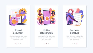 Digital documentation, remote colleagues connection, contract signing icons set. Shared document, mobile collaboration, electronic signature metaphors. Mobile app UI interface wireframe template. icon