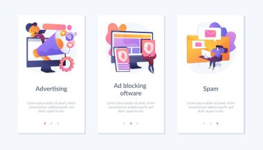 SMM business, annoying online notifications and internet newsletter protection icons set. Advertising, ad blocking software, spam metaphors. Mobile app UI interface wireframe template. icon