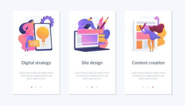 Creative writing, web development and mobile advertising flat icons set. Outbound marketing. Digital strategy, site design, content creation metaphors. Mobile app UI interface wireframe template. icon