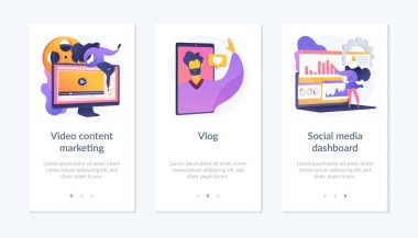 Digital advertising business, online streaming, user statistics analysis icons set. Video content marketing, vlog, social media dashboard metaphors. Mobile app UI interface wireframe template. icon
