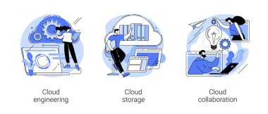 Cloud-based computing abstract concept vector illustration set. Cloud engineering, storage and collaboration, hosted data storage, database security, remote business solutions abstract metaphor. icon