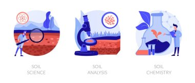 Natural resource study abstract concept vector illustration set. Soil science, analysis and chemistry, land management, soil test, laboratory service, pollution level, agriculture abstract metaphor. icon