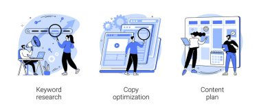 Professional SEO services abstract concept vector illustration set. Keyword research, copy optimization, content plan, web campaign, search engine, online social media planner abstract metaphor. icon