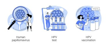 HPV infection abstract concept vector illustration set. Human papillomavirus, HPV test and vaccination, cervical cancer early diagnostics, laboratory sample, virus screening abstract metaphor. icon