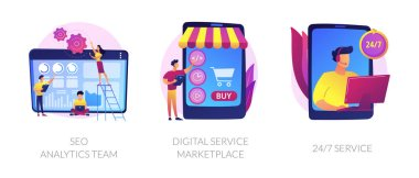 Business teamwork, internet commerce, customer support icons set. Seo analytics team, digital service marketplace, 24-7 service metaphors. Vector isolated concept metaphor illustrations icon