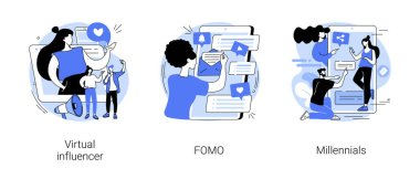 Online communication abstract concept vector illustration set. Virtual influencer, FOMO, millennials generation, digital native and social media, brand avatar, fear of missing out abstract metaphor. icon