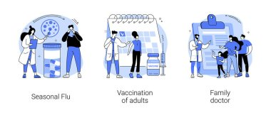 Influenza treatment abstract concept vector illustration set. Seasonal flu, vaccination of adults, family doctor, acute infection symptoms, immunization schedule, physician service abstract metaphor. icon